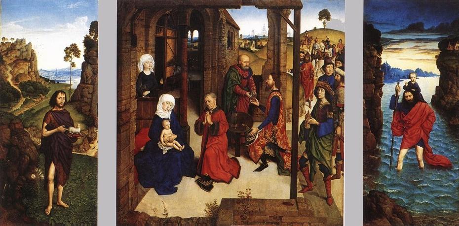 Triptych Saint John the Baptist (recto left), The adoration of the Magi (middle), Saint Christopher (recto right); Saint Catherine (verso left), Saint Barbara (verso right)