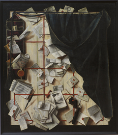 Trompe l'oeil. Board Partition with Letter Rack and Music Book