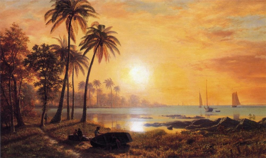 Tropical Landscape with Fishing Boats in Bay