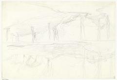 Twee schetsen van een landschap