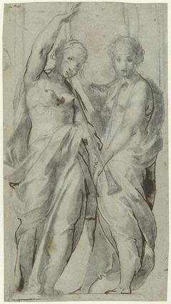 Twee vrouwen met bazuinen aan de mond