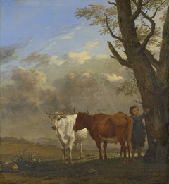 Two Bullocks with a Boy Cutting a Twig