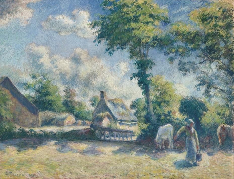 Paysage à Melleray, Femme Donnant à Boire à ges Chevaux