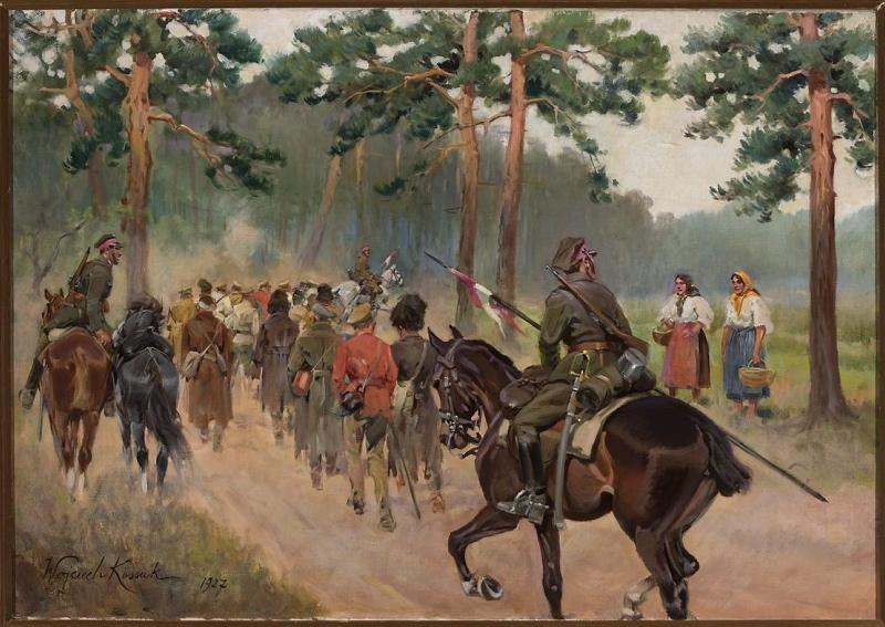 Ułani eksportujący jeńców na leśnej drodze