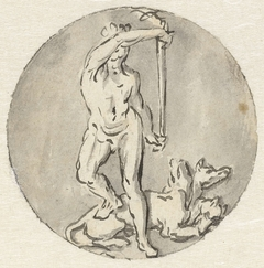 Variant voor medaillon: Hercules met Cerberus