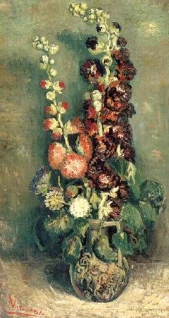 Vase of Hollyhocks