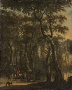 View of a Forest with Hunters