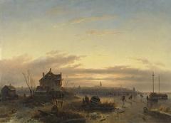 Winter op het IJ voor Amsterdam