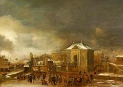 Winter Scene with the Amsterdam City Gate Heiligewegspoort