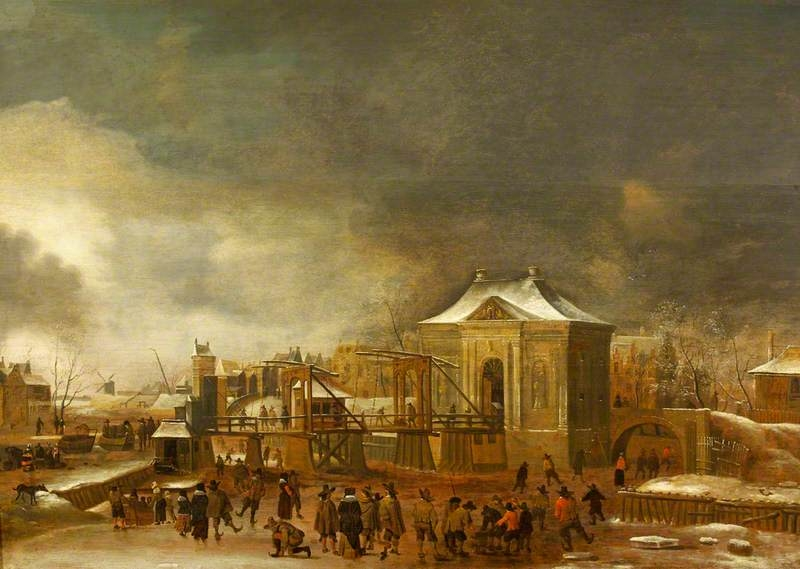 Winter Scene with the Amsterdam City Gate Heiligewegspoort
