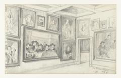 Zaal in het Trippenhuis met schilderijen