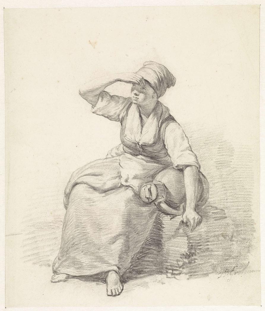 Zittende vrouw met melkbus
