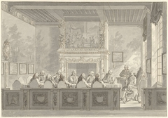 Zittingneming van Prins Willem V in het College van de Admiraliteit te Amsterdam