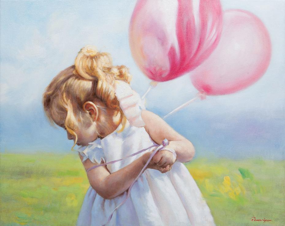 «Kοριτσάκι με μπαλόνια»,  40 x 50 cm, oil on canvas.