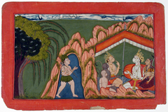 A Bhil hunter approaches a tent where there is a meeting of two monkey leaders