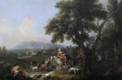A Classical Landscape with Peasants fording a Stream