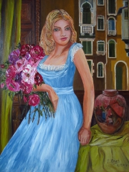 A Girl with Roses and Italian Court Yard