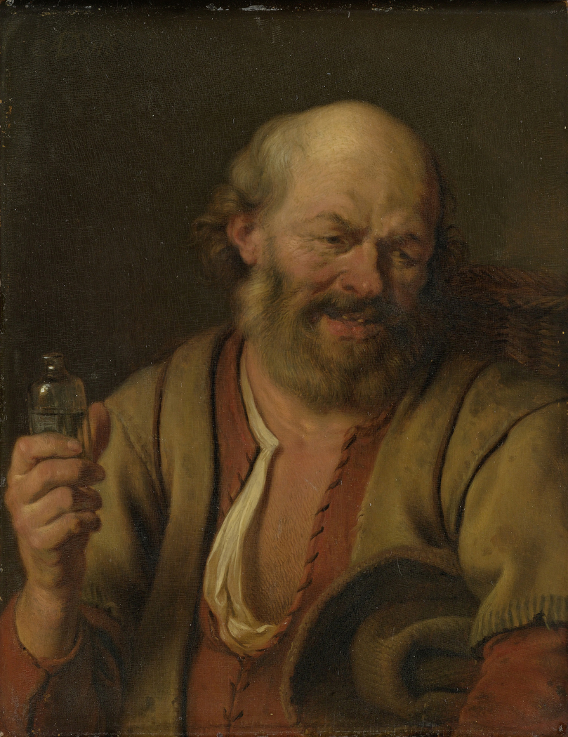 A man with a drinking vial