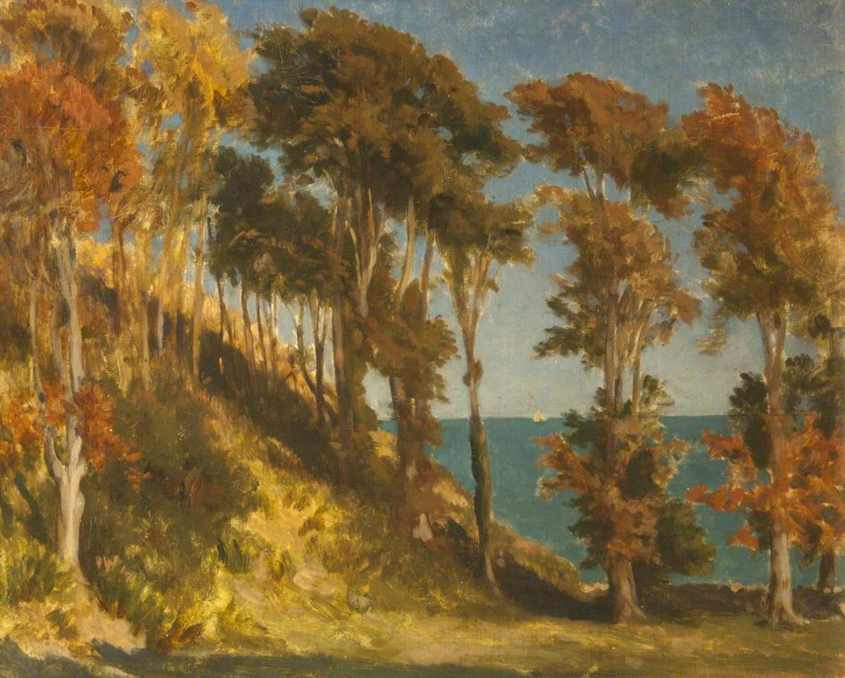 A Wooded Hill with the Sea beyond