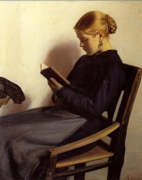A young girl reading, Maren Sofie Olsen