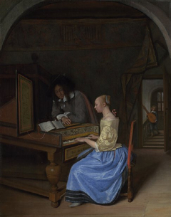 A Young Woman playing a Harpsichord to a Young Man