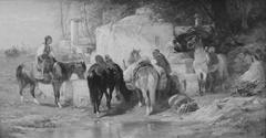 Arab Horsemen Resting at a Fountain