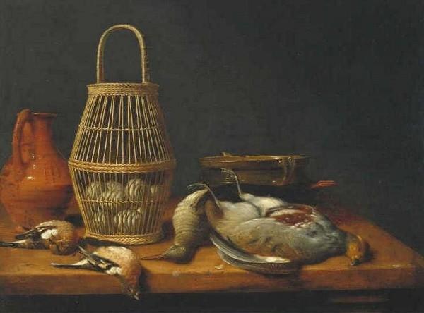 Basket of eggs among dead birds and kitchen utensils