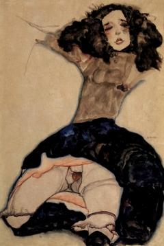 Black-haired Girl with raised Skirt