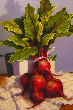 """Bunched Beets"" by Lydia Martin© (24""x18"") oil on Belgian linen"
