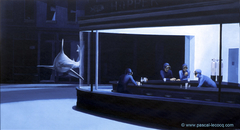 C'EST PAS LE MOMENT DE SORTIR - It's not the time to go out, homage to Ed. Hopper's Nighthawks - by Pascal