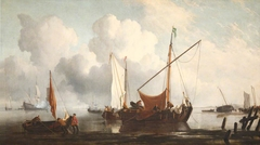 Calm: A Kaag near the Shore with other Vessels