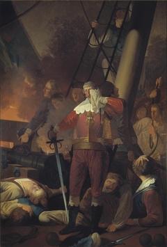 """Christian IV på """"Trefoldigheden"""" i slaget på Koldberger Heide 1644"""