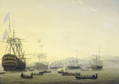 Council of War on board the 'Queen Charlotte', commanded by Lord Exmouth, prior to the Bombardment of Algiers, 26 August 1816