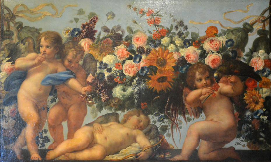 Cupids and Garlands of Flowers with a Parrot