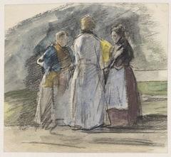 Drie staande vrouwen in gesprek