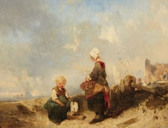 Dutch Seaside View with playing Child