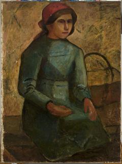 Dziewczyna w zielonej sukni z koszykiem