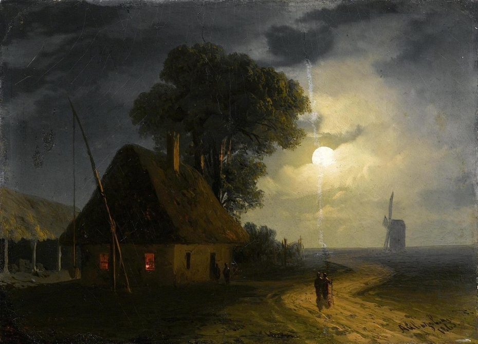Farm House and Windmill by moonlight