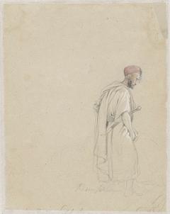 Figuurstudie van een man met tulband en zwaard