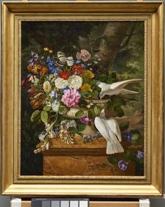 Flowers in a Vase with Two Doves