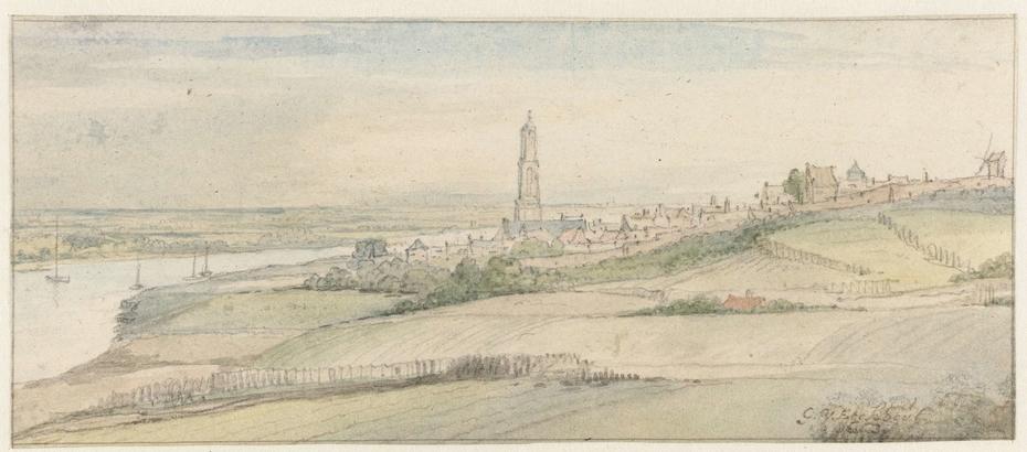 Gezicht op Rhenen en de Rijn uit het oosten