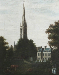 Grantham House, with the Spire of St Wulfram's, with Seven Schoolgirls in White and a Gardener