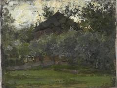 Haystack behind trees