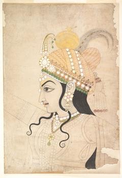 Head of Krishna: cartoon for a mural of the Raslila