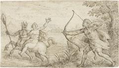 Hercules richt zijn boog op de centaur Nessus die Deïanira ontvoert