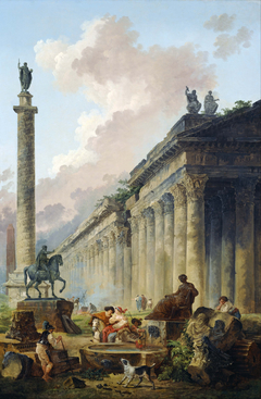 Imaginary View of Rome with Equestrian Statue of Marcus Aurelius, the Column of Trajan and a Temple