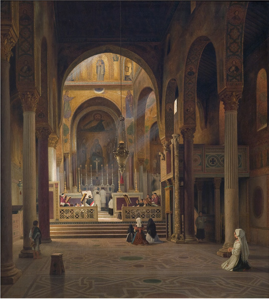 Interior of the Capella Palatina in Palermo, Italy