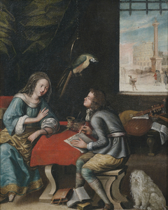 Interior Scene with a Scholar and a Woman at the Table, and Musical Instruments in the Background