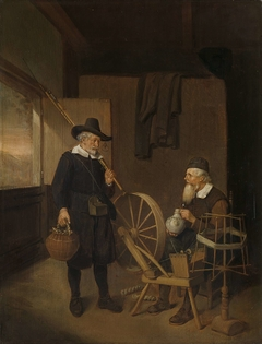 Interior with Fisherman and Man beside a Bobbin and Spool