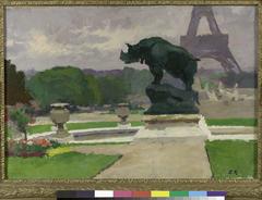 Jardin du Trocadéro avec le Rhinocéros de Jacquemart
